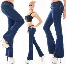 Damen Jeans Hose Damenhose Schlaghose BootCuT Schlagjeans Stretch blau XS-XXL