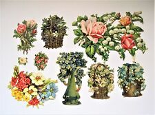 LOT of 9 Victorian Die Cuts Embossed Flowers in Baskets, Vase, and just Flowers