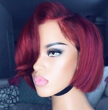 opt for a stylishly short red pixie brazilian human hair bob straight ombre wig