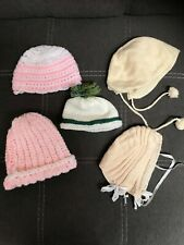 Vintage 1940 1950 Bonnet Lot of 5 for larger Doll Knit Antique Happy Baby Compo