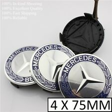 MERCEDES AMG Blue Chrome CENTER WHEEL HUB CAPS Cap 75MM AMG CLS
