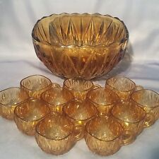 Vintage 1930s AMBER GLASS Art Deco PUNCH BOWL with 12 ORIGINAL GLASS CUPS - VGC
