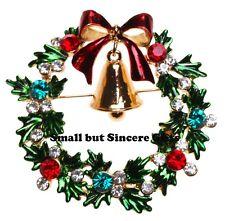 KIRKS FOLLY CHRISTMAS WREATH PIN  goldtone