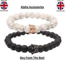 Distance Couple Bracelet With CZ Crown King and Queen Black Matte Agate 8mm Bead
