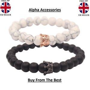 Distance Couple Bracelet with CZ Crown King&Queen Black Matte Agate & White 2PC