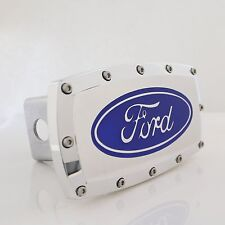 Ford Blue Logo Chrome Billet w/ Allen Bolts Tow Hitch Cover