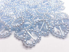 CraftbuddyUS 100pc Blue Acrylic Heart Ribbon Slider Buckles Wedding Card Craft