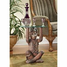 Antique Table Toscano Exotic Home Decoration  Monkey Glass Topped Side Table