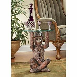 Vintage Antique Glass Table Exotic Home Decor Sculpture Moroccan Monkey Table