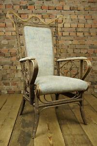Art Deco Rattan Sessel Easy Lounge Chair Geflecht Stuhl Clubsessel Bauhaus 30er