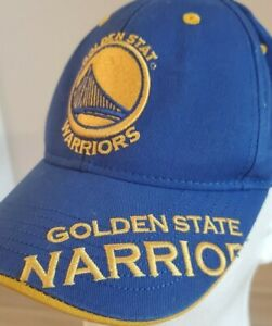 Golden State Warriors NBA Youth Kids Blue Gold Hat Cap Adjustable hook and loop