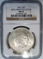 1922 Silver Peace Dollar NGC MS 63 McClaren Collection Hoard Pedigree Graded Gem