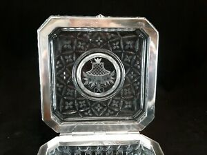 Large Square ABP Pairpoint/Mt Washington Cut Crystal Hinged Dresser Jewelry Box