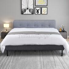 Queen Size Upholstered Linen Platform Bed Frame w/ Wood Slats Bedroom Furniture