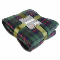 Soft Warm 150x200cm Double Green Tartan Check Sofa Throw Bed Fleece Blanket