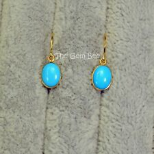 18K Solid Yellow Gold Old Stock Sleeping Beauty Turquoise Earrings