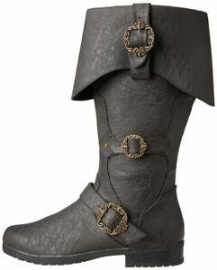 Adult Unisex Caribbean Pirate Captain Black Halloween Costume Accessory Boots