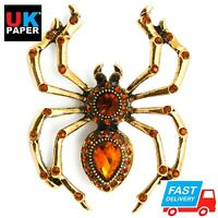 NEW LARGE GOLD SPIDER PIN BROOCH BADGES DIAMANTE CRYSTAL PARTY BROACH VINTAGE UK