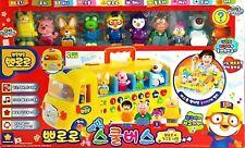 PORORO Melody School Bus & 10 Pororo Friends Figures, Playground Play Set Toy