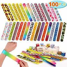 100 Slap Bands Bracelets Wrist Straps Party Favors, Teacher, Classroom Prizes