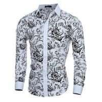 New Men's Long Sleeve Slim Fit Flower Floral Shirts Casual Dress Shirt Tops