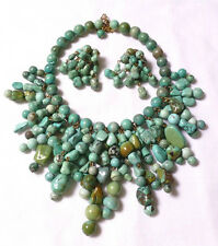 HUGE VINTAGE natural TURQUOISE BIB COLLAR necklace & earring set -313 grams
