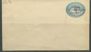 GUATEMALA 6C 1895 POSTHORN SURCHARGED MINT POSTAL STATIONERY ENVELOPE AS SHOWN