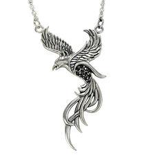 Sterling Silver Phoenix Pendant 18 inch Necklace Black Crystals Alchemy Bird