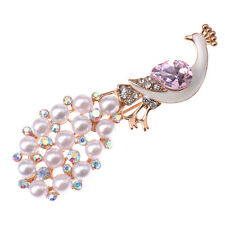 Pearl Rhinestone Peacock Crystal Brooch Pin Bouquet Wedding Bridal Decor Chic SP