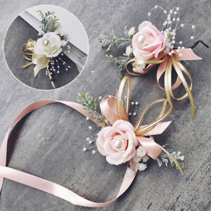 Bride Bridesmaid Pearl Corsage Artificial Rose Wrist Flowers Wedding Party New