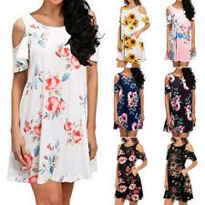 Summer Women Boho Loose Cold Shoulder Floral Casual Short Dress Party Sundress