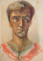 Vintage watercolor painting male portrait