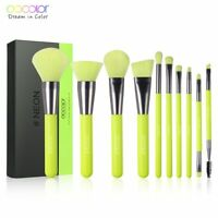 Docolor 10Pcs Makeup Brushes Powder Eyeshadow Make Up Set Cosmetics Neon Brush