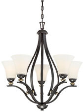 Minka Lavery 3285-589 Shadowglen 5-Light 1-Tier Chandelier Lathan Bronze W/Gold