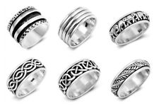 NEW! 925 SILVER SPINNER RINGS- LEAVES, ELEPHANT, CELTIC, BANDS SIZES 6-13