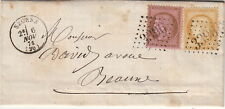 Lettre/Cover France n°58&55 Seurre (Cote D'or) 1874