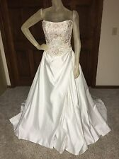 Alfred Angelo Wedding Dress 2pc Ivory Floral Beaded Size 10 see details