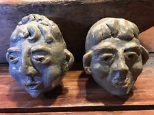 """2 SMALL 4""""T 3.5"""" W ASIAN POTTERY UGLY FACE RARE Signed Vintage"""