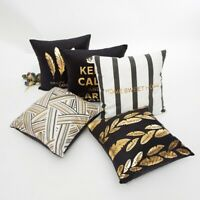 Cushion Cover Pillow Soft Velvet Gold Foil Feather Stripe Leaves Home Decoration