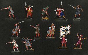 Kaiserliche Musketiere 16.+ 17. Jhd. Kampf 12 Fohler Zinnfiguren 30mm handbemalt