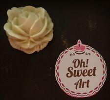 3 edible Ivory sugar Roses wedding cake decoration, cupcake toppers