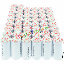 50x Sub C SubC With Tab 6000mAh 1.2V Ni-MH Rechargeable Battery White High Power