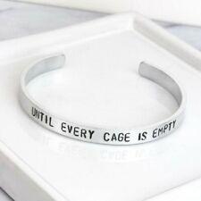 Vegan Bracelet Until Every Cage Is Empty Silver Cuff Bracelet Handmade Jewellery