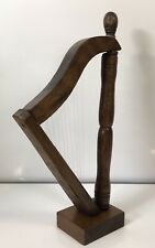 More details for vintage miniature wooden harp handmade 9 string decorative celtic irish harp
