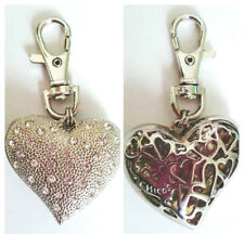Chico's Double Sided HEART Crystal Purse Charm Keychain Fob