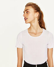 ZARA WHITE SILVER METALLIC TRIM T-SHIRT TOP S SMALL UK 8 / 10 BNWT