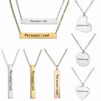 Personalized Engraved Custom Name Bar Letters Stainless Steel Necklaces Pendant