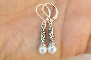 Altered Brighton Silver Etched Bead & Faux Pearl On Lever Back Earrings