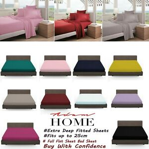 Plain Dyed Poly Cotton Full Fitted Sheet Flat Sheet Bed Cover Bed Sheet Percale
