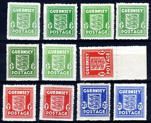 WW2 GERMAN OCCUPATION ISSUES: GUERNSEY 1941-4 SHADES HINGED MINT SELECTION (12)